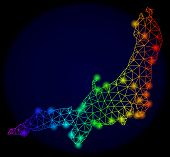 Bright Rainbow Mesh Vector Map Of Honshu Island With Glare Effect. Abstract Lines, Triangles, Glare  poster