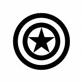 Shield With A Star, Superhero Shield, Shield Captain America, American Captain Logo, Comics Shield,  poster