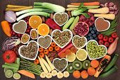 Super food for losing weight concept  including  fruit, vegetables and salads with medicinal herbs t poster