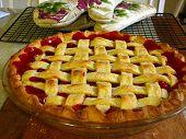 image of cherry pie  - A fresh homemade cherry pie just like grandma used to make - JPG