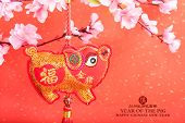 Tradition Chinese cloth doll pig,2019 is year of the pig,Chinese characters translation: pig.Right poster