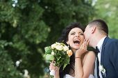 Bride And Groom At Wedding Day Outdoor On Spring Nature. Bridal Couple, Happy Newlywed Woman And Man poster