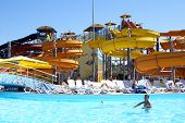 image of amusement park rides  - Aqua park in Anapa Black sea coast Russia - JPG