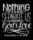 Hand Lettering With Bible Verse Nothing Can Separate Us From God S Love On Black Background. poster