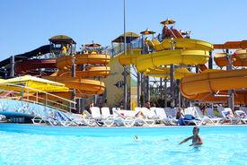 picture of amusement park rides  - Aqua park in Anapa Black sea coast Russia - JPG