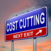 stock photo of economizer  - Illustration depicting an illuminated roadsign with a cost cutting concept - JPG