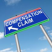 picture of workplace accident  - Illustration depicting a roadsign with a compensation claim concept - JPG