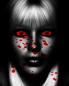 picture of serial killer  - Close up of a sinister female serial killer covered in blood - JPG