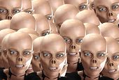 stock photo of festering  - Many zombie heads together like a zombie horde - JPG