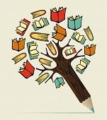 picture of sketch book  - Reading books education concept pencil tree - JPG