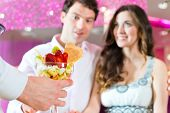 picture of ice cream parlor  - Young Couple in a Cafe or Ice cream parlor - JPG