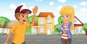 picture of post-teen  - Illustration of a boy and a girl talking across the neighborhood - JPG