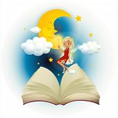 picture of storybook  - Illustration of a storybook with a fairy and a sleeping moon on a white background - JPG