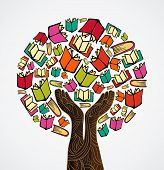 pic of palm-reading  - Global education concept tree hand books - JPG
