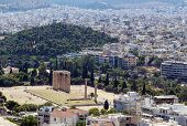 picture of olympian  - view from the Acropolis on the temple of Olympian Zeus Athens - JPG