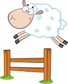 stock photo of counting sheep  - Funny White Sheep Jumping Over The Fence  Illustration Isolated on white - JPG