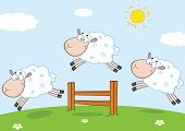 pic of counting sheep  - Three Funny Sheep Jumping Over A Fence Cartoon Character - JPG