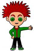 stock photo of chibi  - Cool punk kid drawn in super deformed or chibi manga style - JPG