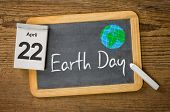 Earth Day April 22 written on a blackboard