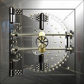 stock photo of vault  - Closed metal bank safe door of vault - JPG