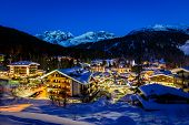 Illuminated Ski Resort Of Madonna Di Campiglio In The Morning, Italian Alps, Italy