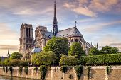 image of notre dame  - View at the Cathedral Notre Dame in Paris  - JPG