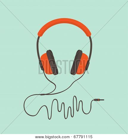 Orange Headphones. Vector Illustration poster