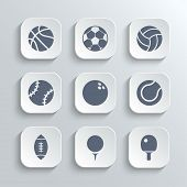 image of bowling ball  - Sport balls icon set  - JPG