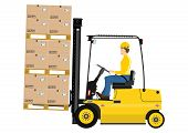 image of lift truck  - Cartoon fork lift truck at work isolated on white background - JPG