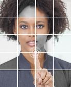 picture of smart grid  - Photo grid montage of a successful african american businesswoman pressing a graphic symbol on a touchscreen - JPG