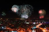 picture of ekaterinburg  - View of night Ekaterinburg during fireworks from a skyscraper - JPG