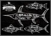 pic of swordfish  - vector diagram cut carcasses salmon swordfish herring tuna - JPG