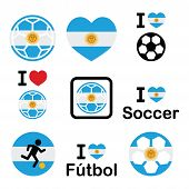 stock photo of offside  - Soccer ball with flag of Argentina vector icons set isolated on white - JPG