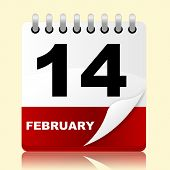 stock photo of adoration  - Calendar Fourteenth Showing Valentines Day And Adoration - JPG