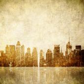 Grunge Image Of New York Skyline poster
