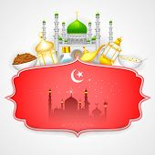 foto of eid ka chand mubarak  - easy to edit vector illustration of decorated mosque on Eid Mubarak  - JPG