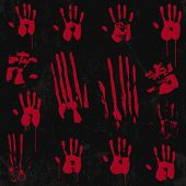 foto of bloody  - Bloody Hand Print set 01 - JPG