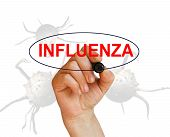 picture of influenza  - writing word INFLUENZA with marker on white background made in 2d software - JPG