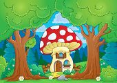 image of fairy-mushroom  - Tree theme with mushroom house  - JPG