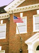 image of school building  - American flag on the Armory Building in Delaware - JPG