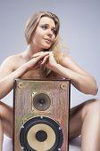 picture of seducing  - Sexy Seducing Caucasian Female with Loudspeaker - JPG