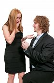 stock photo of marriage proposal  - Man with a wedding ring proposing marriage to a woman - JPG
