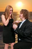 picture of marriage proposal  - Man with a wedding ring proposing marriage to a woman - JPG