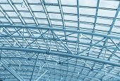 picture of roof-light  - metal structures on the roof of the shopping complex background - JPG