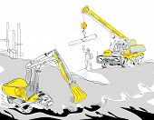 stock photo of hydraulics  - Hand drawn illustration of a hydraulic excavator and mobile crane working construction concept - JPG