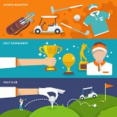 stock photo of slash  - Golf club banner set with sport inventory tournament player isolated vector illustration - JPG