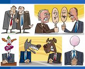 pic of politician  - Illustration Set of Humorous Cartoon Concepts or and Metaphors of Politics and Politicians - JPG
