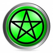image of pentagram  - Pentagram green button isolated on white background - JPG