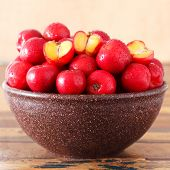 stock photo of seed bearing  - Red acerola  - JPG