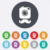 image of mustache  - Hipster photo camera with mustache sign icon - JPG